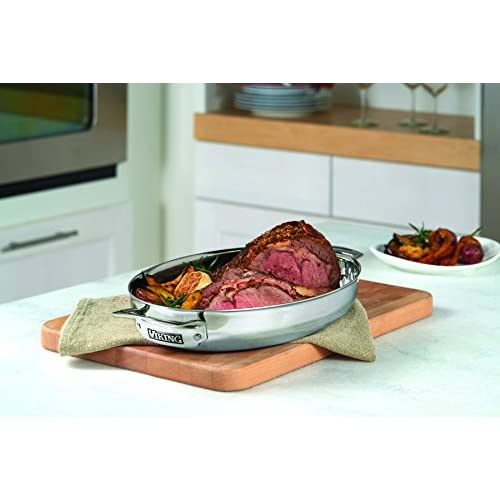 Viking 3-Ply Stainless Steel Oval Roaster with Metal Induction Lid and Rack, 8.5 Quart