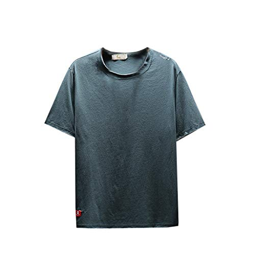 (TOPUNDER Men's Summer Casual Fashion Solid Color O-Neck Short Sleeve T-Shirt Top Blouse Sky Blue)