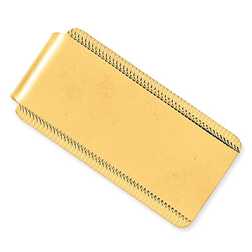 (14k Yellow Gold Engraveable Sandblast & Edge-Design Money Clip)