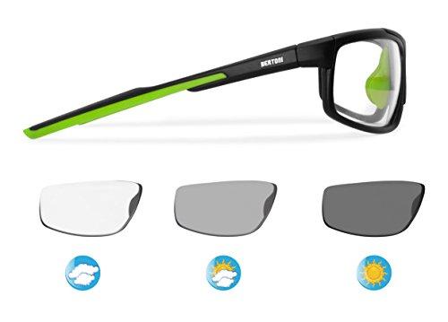 1606b8848f8 Bertoni Sports Polarized Sunglasses Photochromic Cycling Ski Running Golf -  Antifog Lens - Adjustable Nose - mod. F180 Sunsensor Glasses - Tr90 Durable  ...