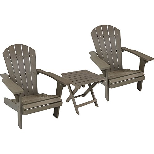 (Sunnydaze All-Weather Adirondack Chair Set of 2 with Folding Side Table, Faux Wood Design, Gray)