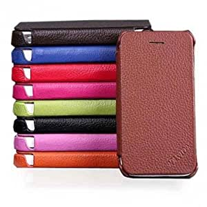 Genuine Flip Leather Hard Back Case Cover For iPhone 4 4S -*- Color -- Dark Brown