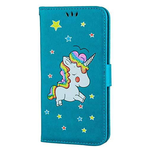 ther, IDBI 3D Bling Glitter Colorful Unicorn Embossed Wallet PU Leather Fashion Design Diamond Magnetic Flip Cover Stand Case Card Holders Slots for iPod Touch 5/6th Blue ()