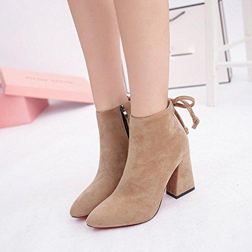 Botas Mujer,Ouneed ® Moda mujer zapatos de invierno de tacón alto Botas de cilindro corto Botas de tobillo con estilo Caqui