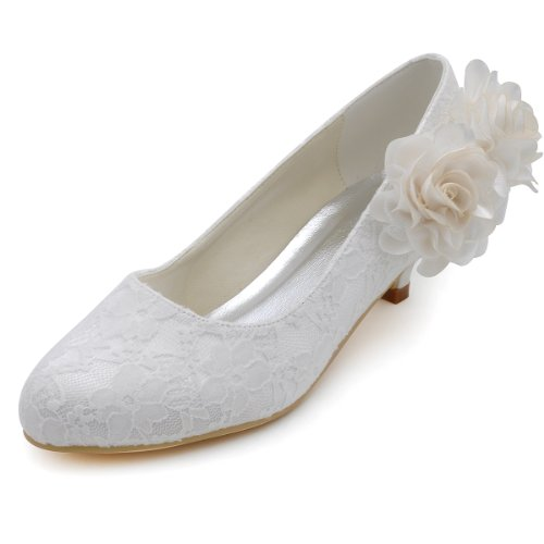 ElegantPark EP2130 Women Low Heel Comfort Closed Toe Flowers Lace Bridal Wedding Shoes Ivory US 10