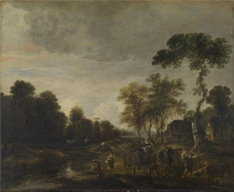 High Quality Polyster Canvas ,the High Definition Art Decorative Prints On Canvas Of Oil Painting 'Aert Van Der Neer - An Evening Landscape With A Horse And Cart By A Stream,about 1645-55', 10x12 Inch / 25x31 Cm Is Best For Basement Decor And Home Decoration And Gifts