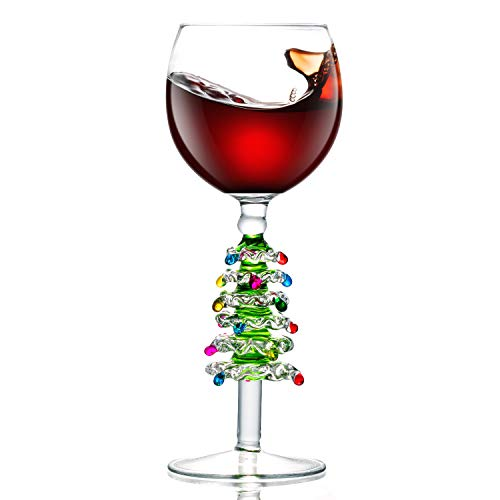 Lovinpro Green Christmas Tree 100% Hand Crafted 13.5 oz Luxury Drinking and Wine Glass for Christmas Gift, It's Perfect Gifts for Family or Friends.