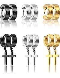 6 Pairs of Cross Earrings Dangle Hinged Earrings Stainless Steel Cross Hoop Earrings and Stud Earrings for Men and Women Wearing (Style Set 1)