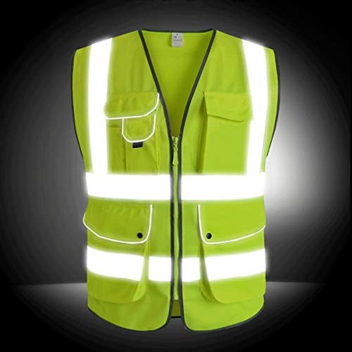 XIAKE SAFETY - Class 2 High Visibility Safety Vest with Pockets and Zipper ANSI/ISEA Standards Yellow (Small) by XIAKE SAFETY (Image #2)