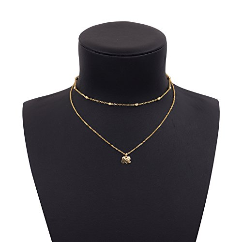 Women 2 Layers Gold Plated Coins Disc Necklace Gold - 6