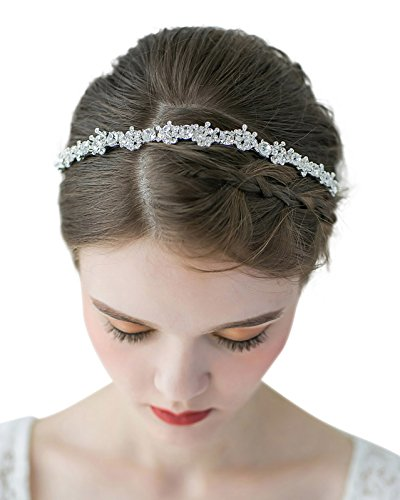 SWEETV Crystal Wedding Headband Silver - Bridal Tiara Jewelry Rhinestone Women Hair Style Accessories for Brides