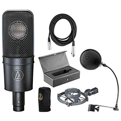 Audio-Technica AT4040 Cardioid Condenser Microphone Bundle with Pop Filter, XLR Cable, Shockmount, case and cover