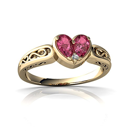 14kt Yellow Gold Pink Tourmaline and Diamond 5x3mm Pear filligree Heart Ring - Size 9