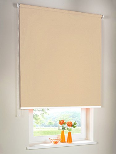 Hochwertiges Verdunkelungsrollo Seitenzugrollo Kettenzugrollo Rollo Verdunkelung 210 x 260 cm 210x260 cm beige-karamell Verdunkelungs-Rollo Fensterrollo Bedienseite links // Verdunkelungsrollo