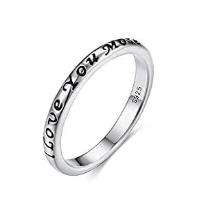 Kaletine 3mm I Love You More Script Wedding Bands Finger Ring in Antique Sterling Silver 925[US Size 6]
