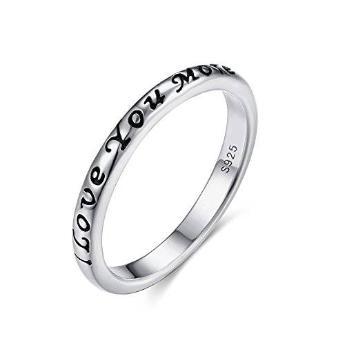 Tongzhe 3mm I Love You More Wedding Band Ring in Antique Sterling Silver 925 with US Size (Love Mom Ring)