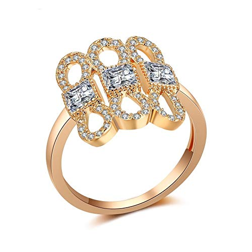 SISIBER 3 Bow-Knot Design Braid Setting Shiny Rose Gold Rings for Sweet Woman Girls Cocktail Party,8 ()