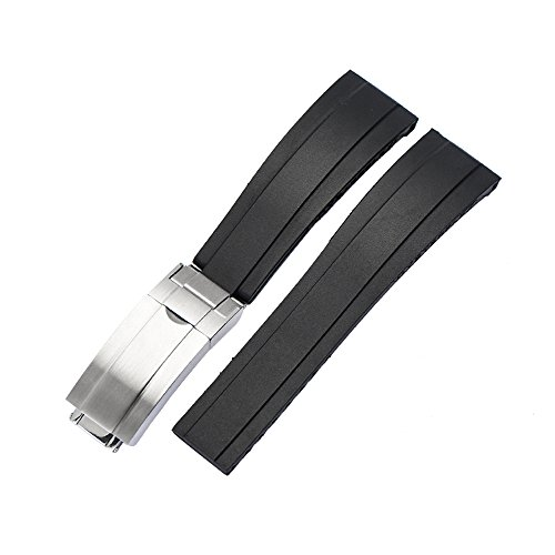 20mm Black Silicone Rubber Watch Band Strap with Silver Clasp For Yatch Master Oysterflex 116655 (Watch Bands Rolex)