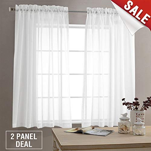 Sheer White Curtains for Living Room 63 inch Length Bedroom Window Curtain White Sheer Curtain Panels Rod Pocket 2 Panels (Curtain Shears)