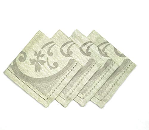 Healthy Wave European Linen Dinner Napkins, Set of 4 Jacquard Napkins 18x18 inch, Classic Hemstitch, Natural Organic Fabric from European Flax (sage/Green)