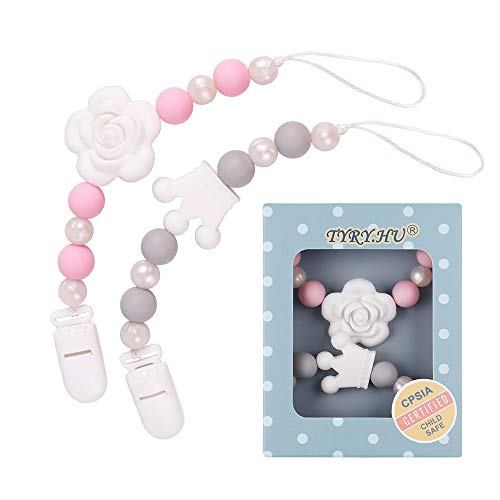Pacifier Clip, TYRY.HU Silicone Teething Beads Binky Teether Holder for Girls, Baby Shower Gift, 2 Pack (Pink+Grey)