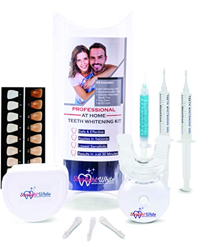 Teeth Whitening Kit by Starlight White -NEW Professional Home Teeth Whitening System, Made in USA,35 Carbamide Peroxide gels, Bonus Remineralization gel restores minerals and helps with sensitivity