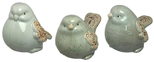 (Scroll Wing Light Blue Ceramic Bird Sculptures Set of 3)