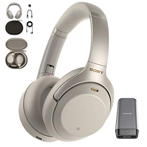 Sony WH-1000XM3 Wireless Noise Canceling Over Ear Headphone with Voice Assistant, Silver (WH-1000XM3/S) with 20,000mAh High Capacity Portable Power Bank Bundle