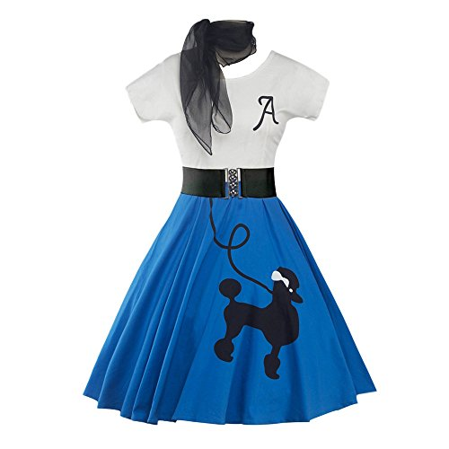 DressLily Retro Poodle Print High Waist Skater Vintage Rockabilly Swing Tee Cocktail Dress (Small, Bright Blue) -
