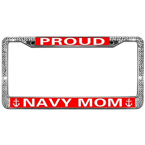 Metal License Plate Frame,Bling License Plate Frames For Women PROUD NAVY MOM Epoxy Process Stylish License Plate Frame 12