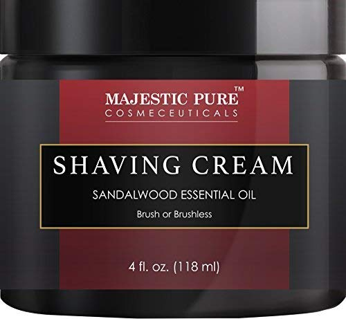 Sandalwood Shaving Cream for Men and Women by Majestic Pure - Smooth Close Refreshing Shave Cream Gel for Smile, 4 fl oz ()