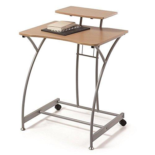 Due-Home - Mesa Escritorio Ordenador Edison, Color Madera Natural y Estructura Gris Aluminio, Medidas 70x58x89 de Altu