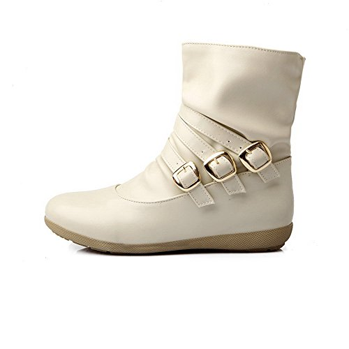 Allhqfashion Women's Low-Heels Soft Material Low-Top Solid Pull-On Boots Beige JhUeAZ