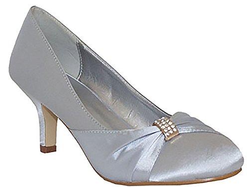 Ladies Chix Satin Diamante Kitten Heel Low Bridal Wedding Smart Prom Party Court Shoes Size 3-8 (UK 8, Silver)