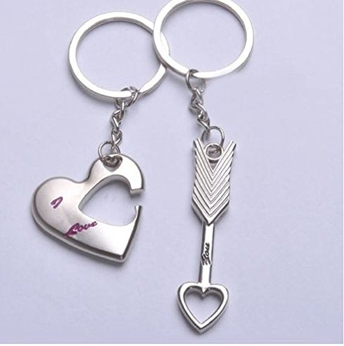 SweetSmile Stylish Romantic Heart & Arrow Couple Keychain Metal Boy Girl Love Lovers Sweethearts Key Chain Ring Silver Key Ring Chain+Gift ()