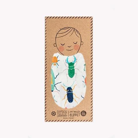 100% Bamboo Muslin Swaddle (Beetle) Chenille Blanket Bundle