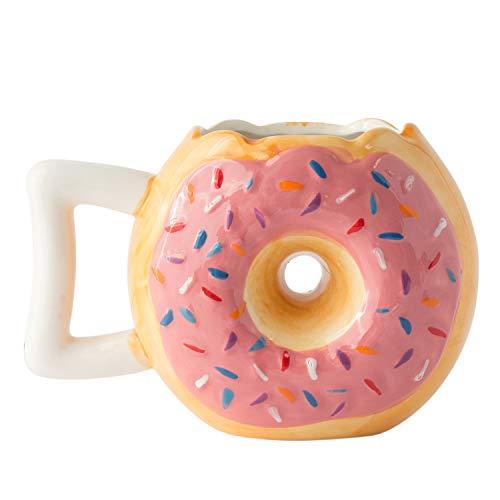 (Ceramic Pink Donut Mug - Delicious Chocolate Glaze Doughnut Mug with Sprinkles - Funny