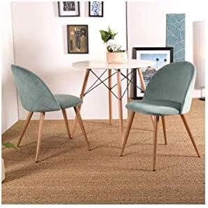 ZOMBA Conjunto de 2 sillas de terciopelo turquesa - Escandinavo - Pies de decoraci�n en madera - L 46 x P 50 cm  a2mPFA
