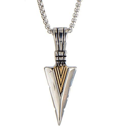 Jonline24h Biker Spear Point Arrowhead Arrow Stainless Steel Pendant Necklace For Men 24 Inch Chain