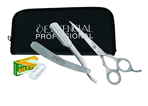 PROFESSIONAL STRAIGHT EDGE SAFETY RAZOR WITH BLADES AND BARBER HAIR CUTTING SCISSORS / SHEARS