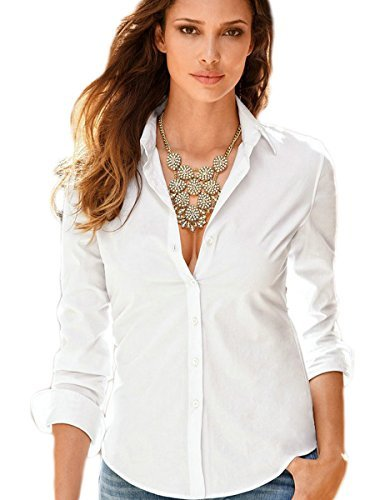 FISOUL Women's Basic Long Sleeve Button Down Shirts Cotton Simple Formal Casual Shirt Blouse (White S)