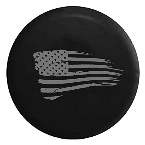 Waving American Tattered Flag Military Spare Jeep Wrangler Camper SUV Tire Cover Gray Ink 32 in