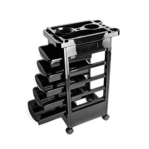 Salon Beauty Hairdressing Rolling Trolley Cart 5-Tier Drawers Hair Dryer Service Tray Tool Storage Cart Black