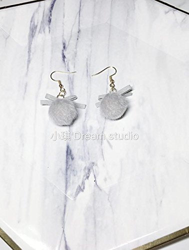 Custom Xiaoqi 's hand-tailored gray hair bow autumn and winter ball earrings / no pierced earrings - Tailored Pierced Earrings