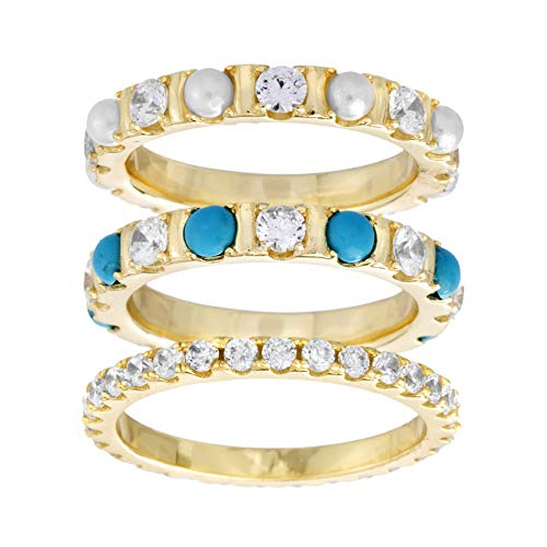 Willowbird Yellow Gold Plated Sterling Silver 3 Piece Simulated Turquoise, Pearl and Cubic Zirconia Eternity Band Ring Set for Women (Size 6) (Ring Pearl Eternity Band)