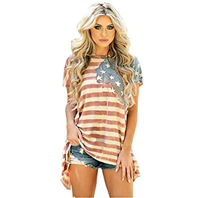 Women Girls' T-Shirt, Fourth of July American Flag Irregular Short Sleeve Blouse