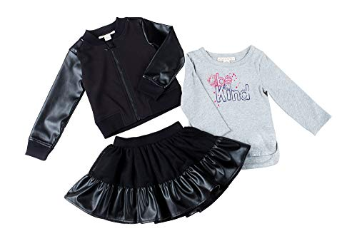 (Kinderkind Kids Toddler Girl Faux Leather Bomber Jacket, Be Kind Long Sleeve Tee and Skirt Set: Sizes 2T-3T-4T-5T)