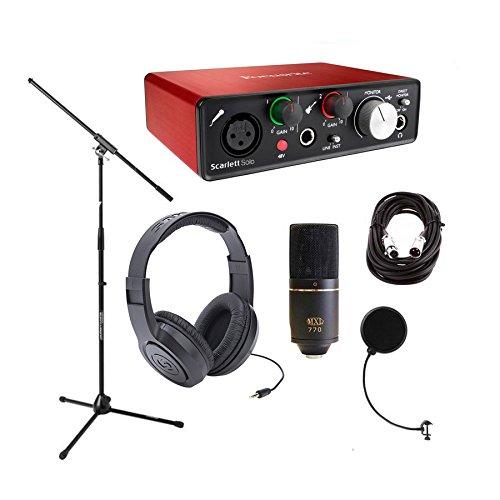 Focusrite Scarlett Solo w/Ableton Live Lite, MXL770 Mic, Headphones, Stand, Filter, Cables