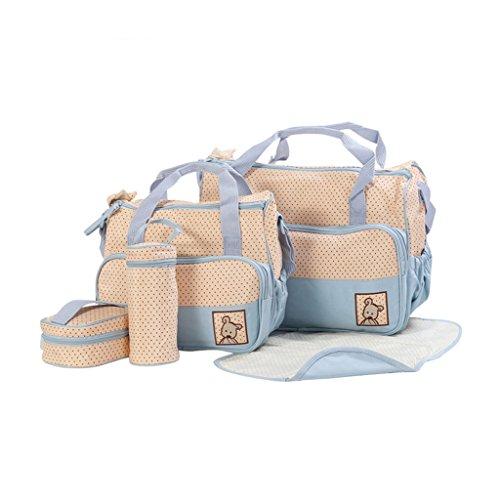 Finerolls Set 5 kits Bolsa de Mama Para Bebe Biberon Bolso/Bolsa/Bolsillo Maternal Bebé para carro carrito biberón colchoneta comida pañal con Gran Capacidad de 8 Colores #1 Azul claro