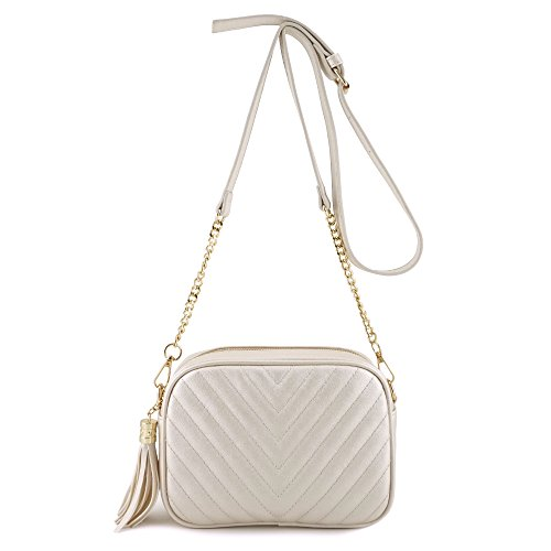 - Simple Shoulder Crossbody Bag With Metal Chain Strap And Tassel Top Zipper (Pearl White)